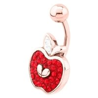 Rose Gold Crystalline Jeweled Belly Ring - Apple