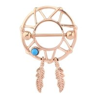 Rose Gold Dreamcatcher Nipple Shield - Aqua