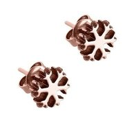 Rose Gold Ear Studs - Snowflake