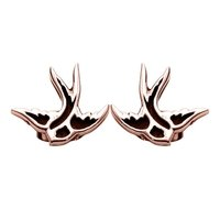 Rose Gold Ear Studs - Swallow