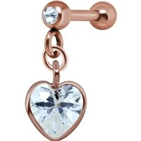 Rose Gold Heart Crystal Jeweled Tragus Bar