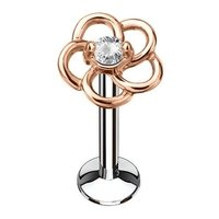 Rose Gold Internally Threaded Flower Labret - Clear