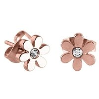 Rose Gold Jeweled Flower Earrings - Crystal