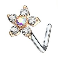 Rose Gold Jewelled Flower L Bend Nose Piercing - Clear AB