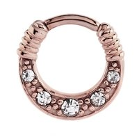 Rose Gold Jeweled Hinged Septum Clicker Ring - Crystal
