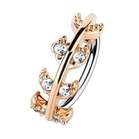 Rose Gold Jewelled Vine Nose Ring - Clear