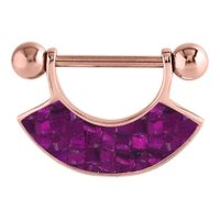 Rose Gold Mother Of Pearl Nipple Shield - Mosaic Purple