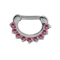 Round Prong Set Jeweled Hinged Septum Clicker - Pink