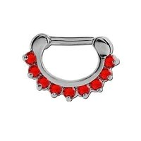 Round Prong Set Jeweled Hinged Septum Clicker - Red