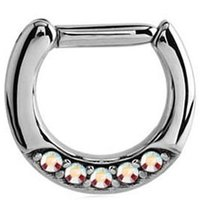 Septum Piercing Jeweled Hinged Clicker Ring - Crystal AB