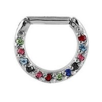Septum Piercing Jeweled Hinged Clicker Ring - Multi Coloured