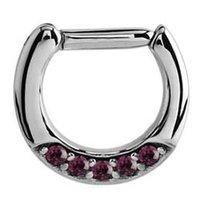 Septum Piercing Jeweled Hinged Clicker Ring - Purple