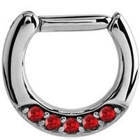 Septum Piercing Jeweled Hinged Clicker Ring - Red
