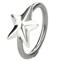 Silver & Steel Captive Bead Ring - Large Outward Star