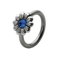 Silver and Steel Daisy Captive Bead Ring - Blue