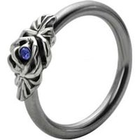 Silver and Steel Floral Captive Bead Ring - Blue