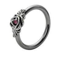 Silver and Steel Floral Captive Bead Ring - Pink