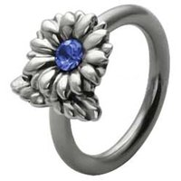 Silver and Steel Flower Captive Bead Ring - Blue