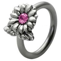 Silver and Steel Flower Captive Bead Ring - Pink