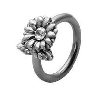 Silver and Steel Flower Captive Bead Ring - Clear