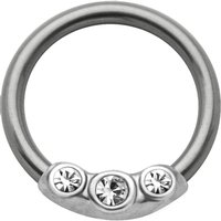 Silver & Steel Jeweled Captive Bead Ring - Clear