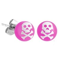 Skull & Crossbones Earrings - Purple