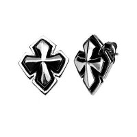 Stainless Steel Raised Cross Stud Earrings