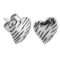 Stainless Steel Slashed Hearts Earrings