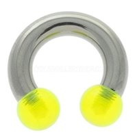 Steel & UV Large Gauge Horseshoe Barbell - Green