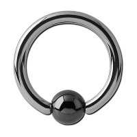Steel Captive Bead Ring with Hematite Ball