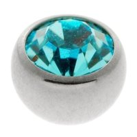 Steel Threaded Jeweled Balls - Blue Zircon