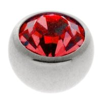 Steel Threaded Jeweled Balls - Red