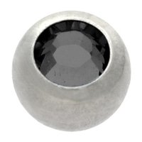 Steel Threaded Micro Jeweled Ball - Black