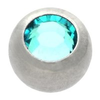 Steel Threaded Micro Jeweled Ball - Blue Zircon