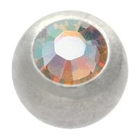 Steel Threaded Micro Jeweled Ball - Crystal AB