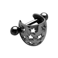 Surgical Steel and Silver Charm Ear Tip - Star Shield