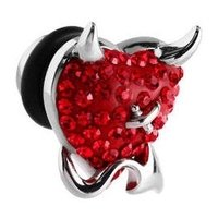 Surgical Steel Crystalline Jeweled Devil Heart Fake Plug - Red