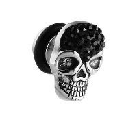 Surgical Steel Crystalline Jeweled Skull Fake Plug - Black