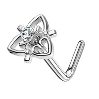 Surgical Steel CZ Jewelled Heart L Bend Nose Piercing - Clear