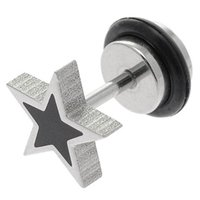 Surgical Steel Fake Flesh Plug - Black Star