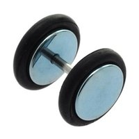 Surgical Steel Fake Flesh Plug - Light Blue