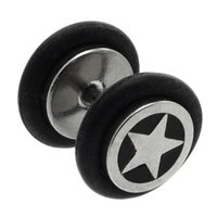 Surgical Steel Fake Plug - Star Inlay