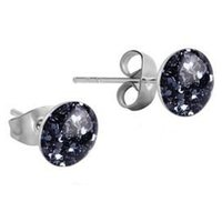 Surgical Steel Glitterline Ear Studs - Black