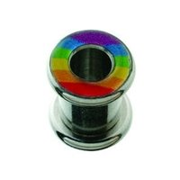 Surgical Steel Halo Flesh Tunnel - Multi Rainbow