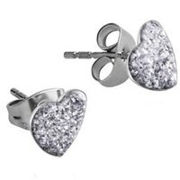 Surgical Steel Heart Glitterline Ear Studs - Crystal