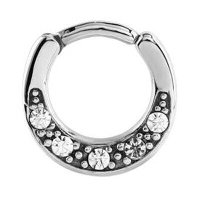 Surgical Steel Jeweled Septum Clicker Ring - Crystal