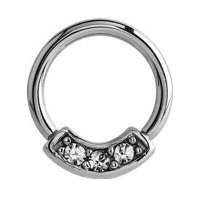 Surgical Steel Jeweled Septum Ring - Crystal