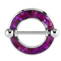 Surgical Steel Mother Of Pearl Mosaic Nipple Shield - Purple