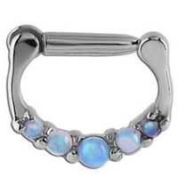 Surgical Steel Opal Jeweled Hinged Septum Ring - Pink & Light Blue