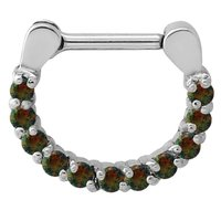 Surgical Steel Opal Jeweled Septum Ring - Black